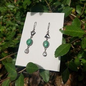 Teal & silver cubic zirconia dangle earrings